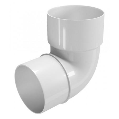 WHITE PVC ELBOW D-110, 87º, M-H, FOR DOWNWARD CHANNEL.