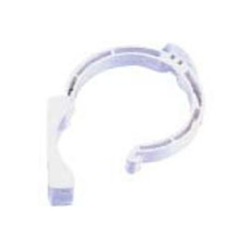 PVC CLAMP D-110 WHITE, CLIP CLOSURE, CANALON DOWN.