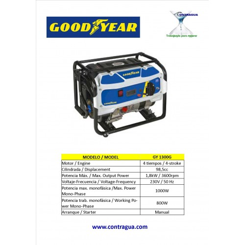 Generator GOODYEAR GY1300G single phase 230V