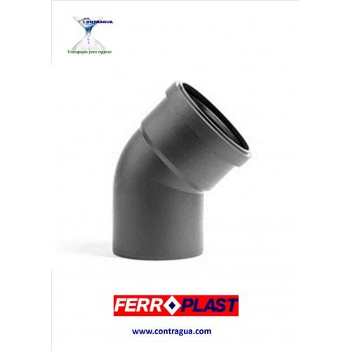 GRAY PVC ELBOW D-40, 45º, M-H, ELASTIC GASKET, SANITATION.