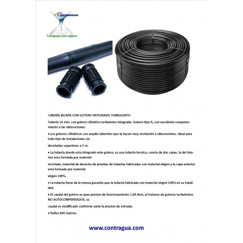 ROLL 400 METERS TUBE BICAPA 16mm, DRIP TURBULENTO 2,2L / H, DISTANCE BETWEEN DRIPPERS 30cm.
