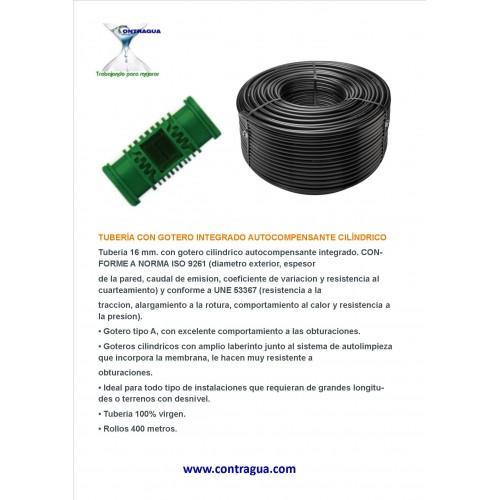 TUBERIA 16 mm, CON GOTERO INTEGRADO AUTOCOMPENSANTE DE 2,2 LITROS/HORA, A 40 cm DE DISTANCIA.