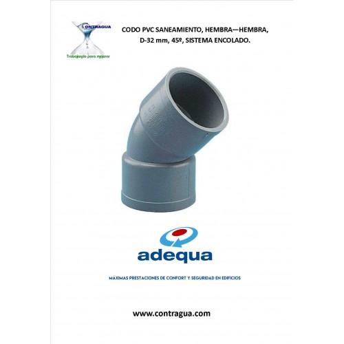 CODO PVC D-32, 45º, HEMBRA - HEMBRA, EVACUACIÓN SANITARIA, SISTEMA ENCOLAR. (ADEQUA)