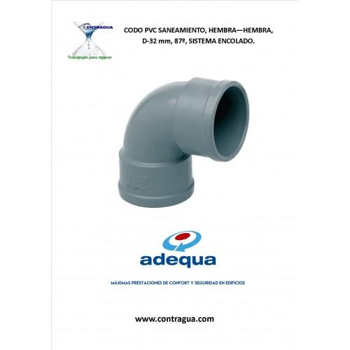 CODO PVC SANITARIO D-32, 87º, HEMBRA-HEMBRA, SISTEMA ENCOLADO.