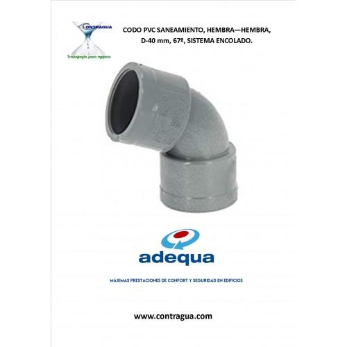 CODO PVC SANITARIO, D-40, 67º, H-H, SISTEMA DE ENCOLADO.