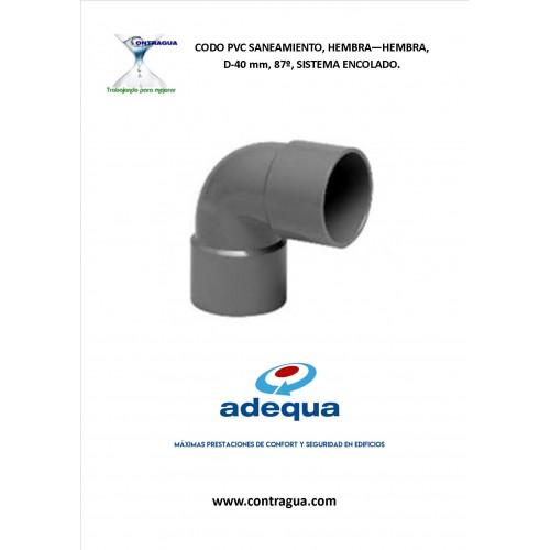 CODO PVC SANITARIO, D-40, 87º, HEMBRA-HEMBRA, SISTEMA DE ENCOLADO, ADEQUA.