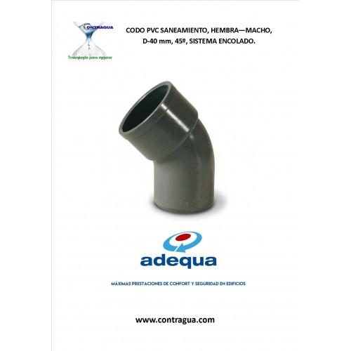 CODO PVC SANITARIO D-40, 45º, H-M, SISTEMA DE ENCOLADO.