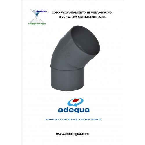 CODO PVC SANITARIO D-75, 45º, H-M, SISTEMA DE ENCOLADO.