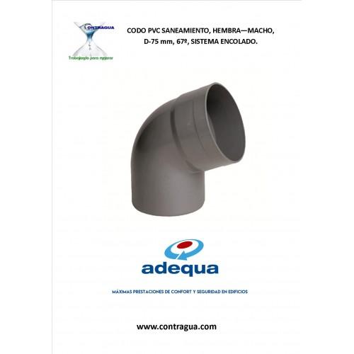 ELBOW SANITARY PVC, D-75, 67º, H-M, GLUING SYSTEM