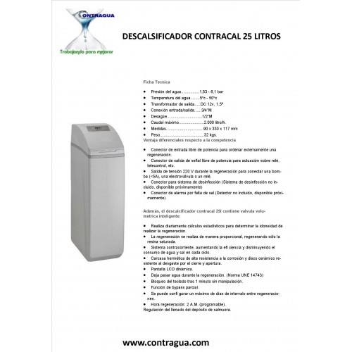 SOFTENER LOW CONSUMPTION, CONTRACAL, 25 LITERS.