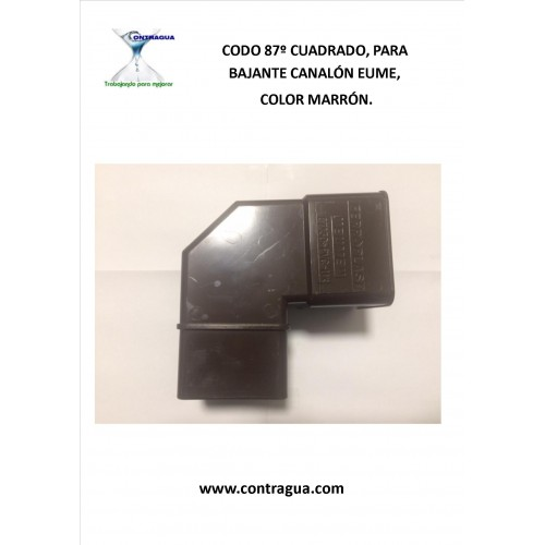 "SQUARE ELBOW PVC, 70x70 mm, 87º COLOR BROWN, FOR CHANNEL ""EUME"""
