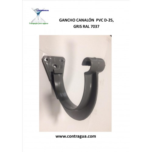 GANCHO CANALÓN PVC PARA CANAL D-25 GRIS RAL 7037.