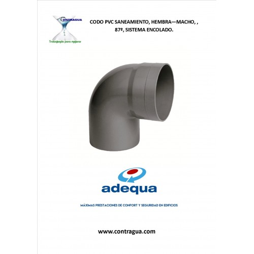 ELBOW SANITARY PVC, ENCOLAR D-75, 87º, H-M, ADEQUA.