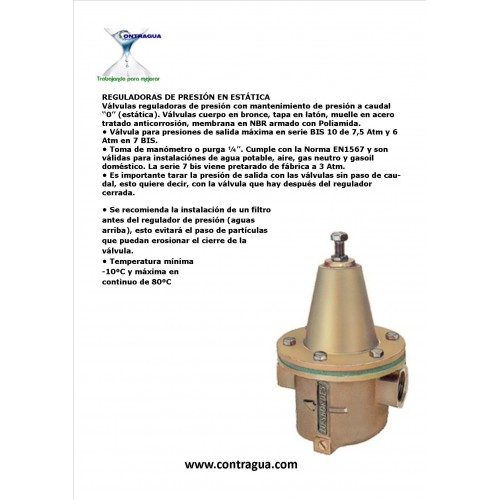 "STATIC PRESSURE REGULATOR 1/2 ""R / H, 7 BIS"