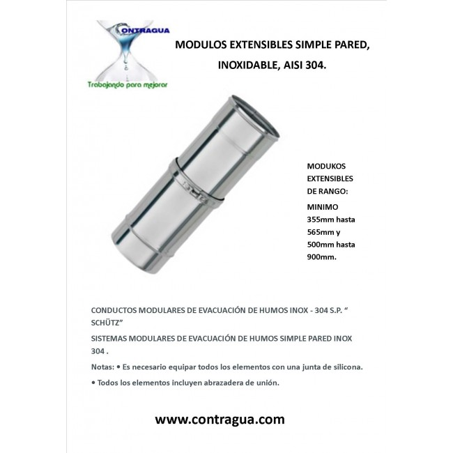 EXTENSIBLE STRAIGHT MODULE, STAINLESS, SINGLE WALL, AISI 304, DIAMETER 80mm, EXTENSION RANGE 500mm to 900mm.