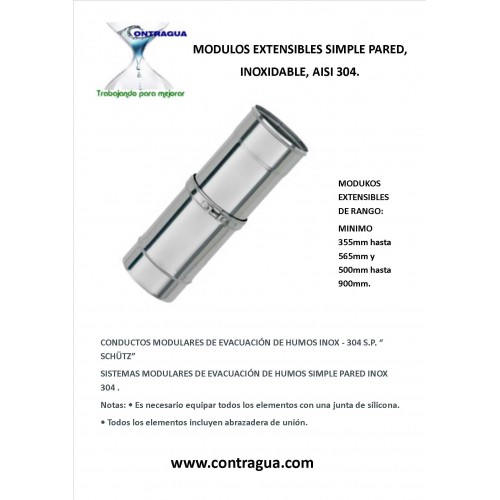 EXTENSIBLE, STAINLESS STRAIGHT MODULE, SINGLE WALL, AISI 304, DIAMETER 125mm, EXTENSION RANGE 500mm to 900mm.
