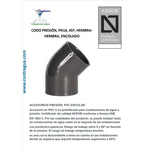 PRESSURE ELBOW, 45º, D-50, PN16, PVC, ENCOLAR, H-H.