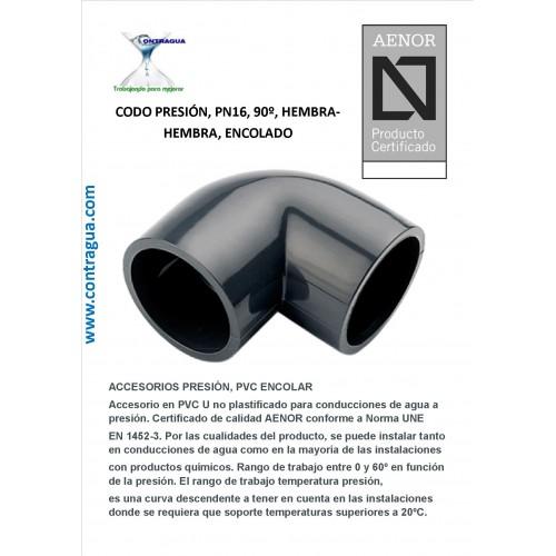 PRESSURE ELBOW, 90º, D-50, PN16, PVC, ENCOLAR, H-H.