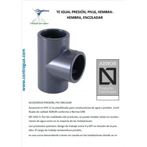 EQUAL PRESSURE, D-90, PN16, PVC, ENCOLAR, H-H.