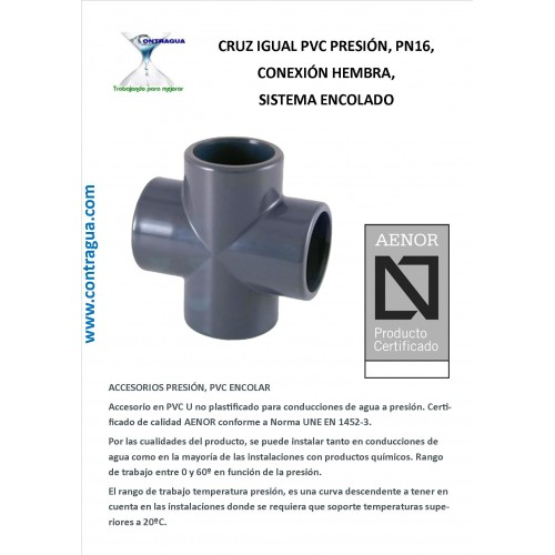 EQUAL CROSS D-20mm, PRESSURE PVC, PN16, FEMALE CONNECTION
