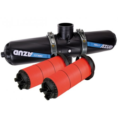 """DOUBLE FILTER, REINFORCED NYLON RINGS, AZUD, 4 """"DN100, FLANGE, 130 Micron."""
