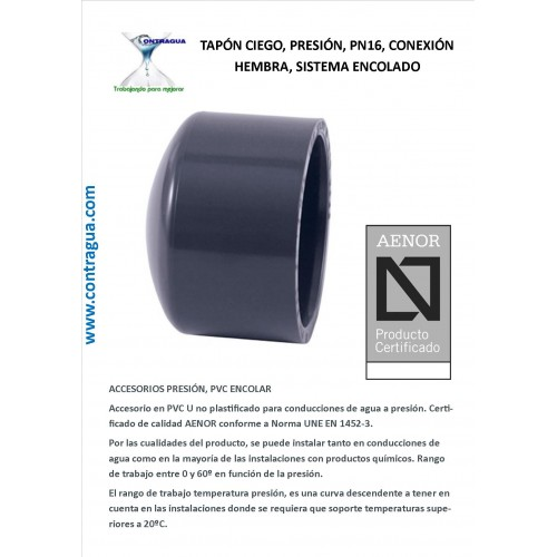 BLIND PLUG, D-140mm PVC PRESSURE, PN16, FEMALE CONNECTION