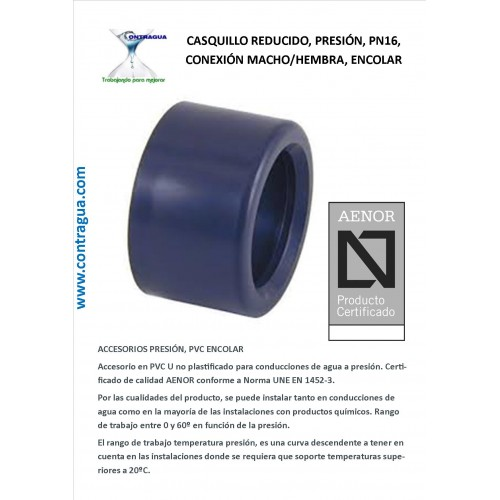 REDUCED BUSHING, D-75 / 63mm, PVC PRESSURE, PN16, MALE-FEMALE