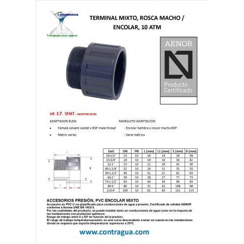 "TERMINAL, D-50 - 1,1/2 "", MIXED PVC, GLUE / MALE THREAD, PN10"