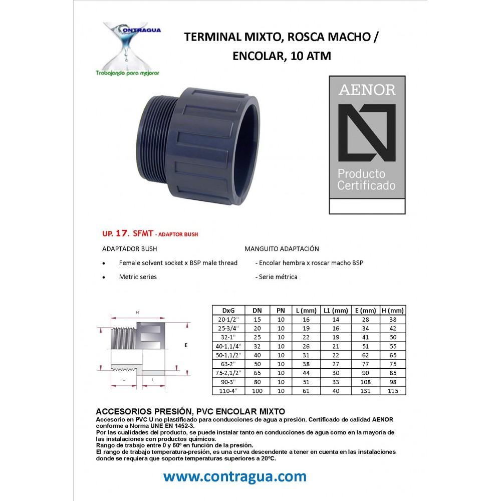 Producto con certificado AENOR. TUERCA REDUCIDO PP roscado Macho 1 1//2 x Hembra 3//4