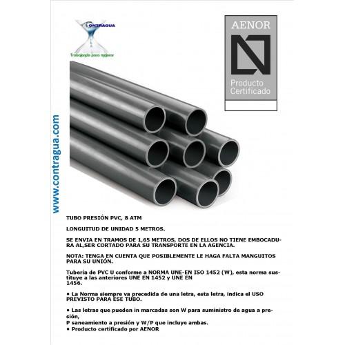 DE-63 TUBE, PVC 8 ATM PRESSURE, ROD 1.65 METERS