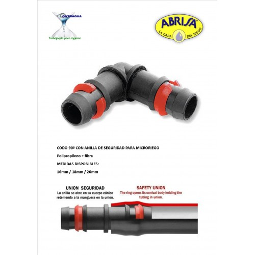 ELBOW P.E. 90º, MICRO IRRIGATION, 18mm, WITH RING
