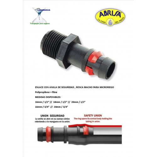 """MALE THREAD LINK, 3/4 """"- 16mm, SAFETY RING"""