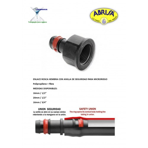 """FEMALE THREAD LINK, 20mm-1/2 """"WITH SAFETY RING"""