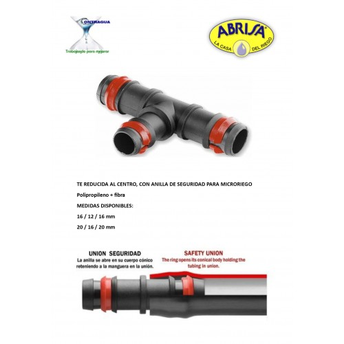 REDUCED TEE, 20-16-20mm, FOR MICRORIEGO, WITH SAFETY RING