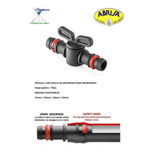 12mm PE VALVE, FOR MICRORIEGO, WITH SAFETY RING, BAG OF 100 UNITS