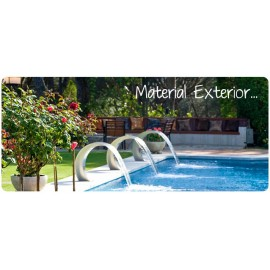 OUTDOOR MATERIAL SWIMMING POOL, STAIRS, SHOWERS, LAVAPIES, WATERFALLS, ETC.